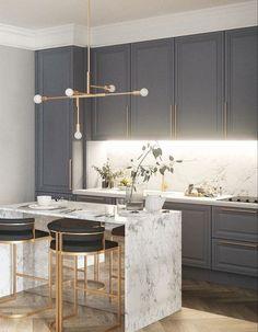 10 Cozinhas em Cinza, Branco e Dourado para te Inspirar – Letícia Granero Interiores Decor, Kitchen Marble, Home Decor Kitchen, Interior, Kitchen Decor Modern, Home Decor, House Interior, Modern Kitchen Design, Luxury Kitchen Design