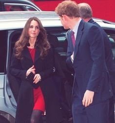 Kate Middleton, Prince Harry, and Prince William (not pictured) arriving at New Zealand House in London. February 25, 2011.
