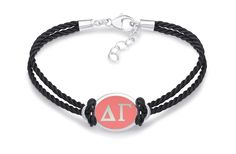 Delta Gamma Double Strand Rubber Bracelet with Color Enamel Top