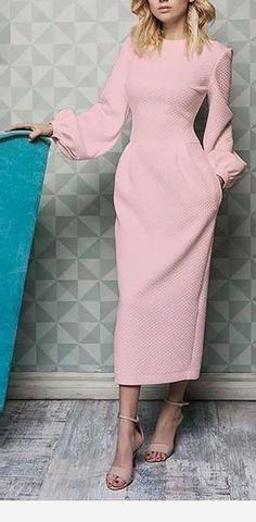 Lovely pink long dress with beige sandals Simple Dresses, Elegant Dresses, Pretty Dresses, Beautiful Dresses, Casual Dresses, Dresses For Work, Pink Dresses, Sexy Dresses, Summer Dresses