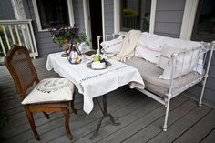 20 Beautiful Spring Porch Decorating Ideas #springporch #springpatio #springoutdoor #spring #springdecorating Porch Furniture, Outdoor Furniture Sets, Outdoor Decor, Outdoor Living, Furniture Redo, Porch Table, A Table, Porch Decorating, Decorating Your Home