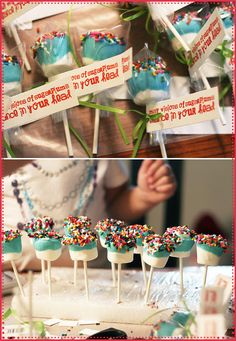 Wicked easy and cute! Marshmallows dipped in colored chocolate w/ sprinkles. Maybe some pink chocolate with gold edible glitter!!