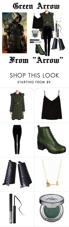 Green Arrow by madelinem-2002 on Polyvore featuring Raey, Burberry, Citizens of Humanity, Breckelle's, Christian Dior, Minnie Grace, Urban Decay, Arrow, fandom and tvshow