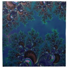 Midnight Blue Frost Crystals Fractal Printed #Napkins...#kitchenware  #kitchen  #dining   #home decor #interior decoration #food  #dining room #drink #accessories #dishes #dishware  #fractals #abstracts #digitalart
