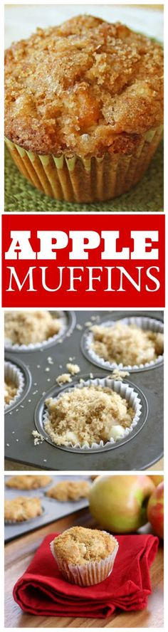 Super moist Apple Muffins with a brown sugar topping! the-girl-who-ate-everything.com Köstliche Desserts, Apple Desserts, Apple Recipes, Fall Recipes, Baking Recipes, Delicious Desserts, Dessert Recipes, Yummy Food, Muffin Recipes
