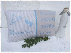 Namenskissen - süßes Kissen als Geschenk zur Geburt o. Taufe  - ein Designerstück von Gemuetlichkeiten bei DaWanda