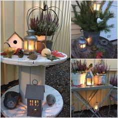Christmas Candle Decorations, Christmas Diy, Table Decorations, Electrical Spools, Spool Tables, Floating Corner Shelves, Diy Nightstand, Wooden Spools, Diy Table