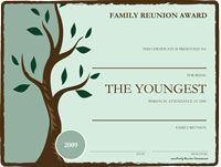 Use these free printable awards for fun family reunion activities! Free award certificates can be personalized.