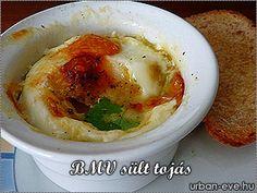 Sült tojás kerámia tálkában Minion, Breakfast Ideas, Hummus, Ethnic Recipes, Food, Morning Tea Ideas, Essen, Minions, Meals