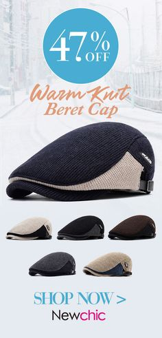 868c28fbe54 Men Winter Warm Knit Beret Cap Adjustable Buckle Newsboy Cabbie Hat Visor  Flat Cap  menswear