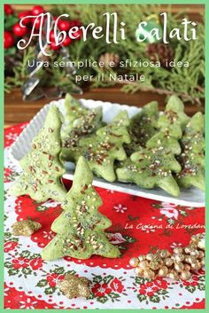 Savory saplings - A nice and tasty idea for the Fest .- Alberelli salati – Una simpatica e sfiziosa idea per le Feste Savory trees – A nice and tasty idea for the Holidays - Mexican Christmas, Christmas Dishes, Christmas Desserts, Christmas Cookies, Christmas Christmas, Christmas Ideas, Fruit Smoothie Recipes, Snack Recipes, Cracker