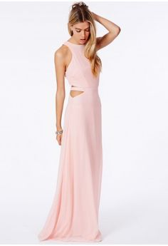 Missguided - Anthea Cut Out Split Maxi Dress In Nude