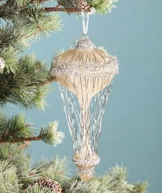 Silver Vintage Air Balloon Ornament | Victorian Style Ornaments