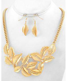 439137 Gold Tone Metal / Clear Rhinestone / Lead&nickel Compliant / Leaf / Necklace & Fish Hook Earring Set