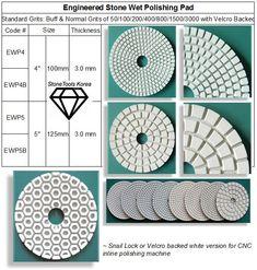 Engineered Stone Polishing Pad ~ Standard 7 Steps #countertops #fabrication #StoneTools #EngineeredStone #DiamondTools Stone Polishing, Artificial Stone, Engineered Stone, Granite, Countertops, Korea, Stones, Marble, Vanity Tops
