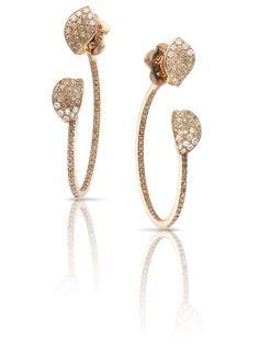 Pasquale Bruni - Orecchini in oro rosa con diamanti bianchi e champagne