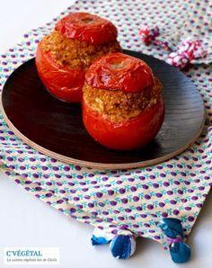 "Tomates farcies au haché végétal maison // Stuffed tomatoes with homemade vegan ground ""meat"" - C'Végétal"