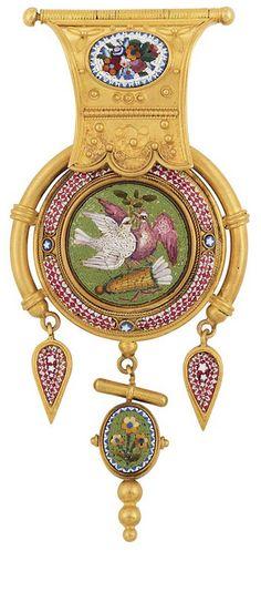 Antique Gold and Micromosaic Pendant, Circa 1870.