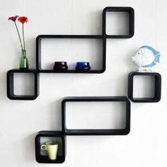 Metal Style Black Wall Shelves Set of 6 by Metal Style Online - Wall Shelves - Home Decor - Pepperfry Product