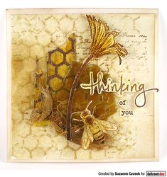 Thinking of you card by Suzanne Czosek using Darkroom Door Honeycomb Background Stamp, Buzzing Bees Stamp Set. Buzz Bee, Mini Mason Jars, Book Background, Bee Cards, Distress Oxide Ink, Flower Stamp, Cursed Child Book, Honeycomb, Your Cards