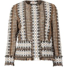 Tory Burch Jessica brown fringed tweed jacket (9.020 ARS) ❤ liked on Polyvore featuring outerwear, jackets, tweed jacket, fringed tweed jacket, tory burch jacket, brown tweed jacket and fringe jackets