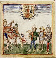 Apollo in sky looks down on Musicians. French 15th cent. detail. Bodl.421