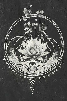 Black Moon Flowers & Moon Tee #AwesomeTattooDesignsAndIdeas