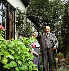 JRR TOLKIEN ;John Ronald Ruel Tolkien ; English writer , poet and university professor ;Photographed in his garden with his wife Edith at 76 Sandfield Road , Oxford ;1966 ;Credit : Pamela Chandler / ArenaPAL www.arenapal.com
