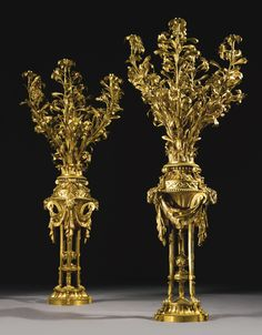 A  pair of Louis XVI ormolu seven-light candelabra, circa 1770.