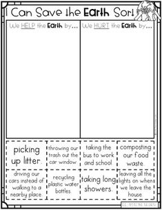 Earth Day Activities Kindergarten Sub Plans Reading Writing Science Social Studies