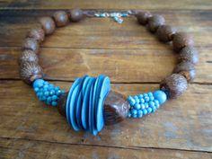 Tagua Kette, natürlichen Halskette Türkis Tagua Perlen, Betel Perlen, Türkis Perlen, Linie, natürlichen Samen Perlen, Boho Halsband