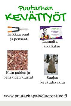 Puutarhan kevättöillä ei kannata näännyttää itseään. Tässä olennaiset tehtävät, joilla piha kukoistaa. www.puutarhapalvelucreative.fi