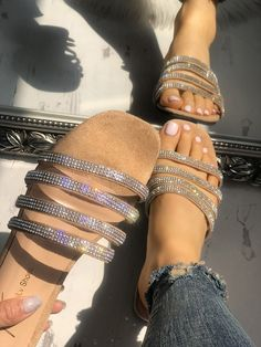 Silver Round Toe Flat with Rhinestones Glitter Beach Sandals Hippie Flip . Silver round toe flat with rhinestones glitter beach sandals hippie flip flops summer women shoes Cute Sandals, Cute Shoes, Me Too Shoes, Shoes Sandals, Shoes Sneakers, Heels, Beach Sandals, Sparkly Sandals, Rhinestone Sandals