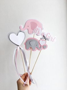 Pink Gray Elephant Centerpieces Girl Baby Shower Centerpieces Elephant Its a Girl Sticks Elephant Girl First Birthday Table Decoration -- Looking for Baby Shower or Baby Girl First Birthday table decorations?! Cute pink gray Elephant Centerpieces makes your party adorable. Centerpieces