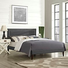 Modway Furniture 5642 Gray Full Fabric Platform Bed Frame