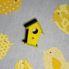 Tableau oiseaux jaune et gris clair - 30x30 cm - cadeau de naissance. décoration…