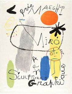 1950|An image of 'Sculptures - Art Graphique' exhibition by Joan Miró Illustrations Posters, Vintage Illustrations, Joan Miro, Graphic Design Illustration, Illustration Art, Exhibition Poster, Affordable Art, Modern Art, Contemporary Art
