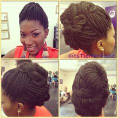 Box braids in braided bun Tied to the front of the head, the braids form a voluminous chignon perfect for an evening look. The glamorous touch: mix plum, caramel and brown locks. Box braids in side hair Placed on the shoulder… Continue Reading → Natural Hair Box Braids, Natural Hair Styles, Cool Braid Hairstyles, Black Girls Hairstyles, Protective Braids, Protective Styles, Protective Hairstyles, Hair Places, Box Braids Styling