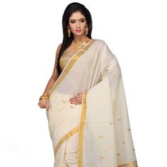 Off White Pure Cotton Kerala Kasavu Saree with Blouse