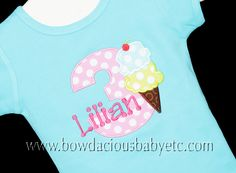 Girls Birthday Shirt, Ice Cream Brithday Shirt, Birthday Girl,  Monogrammed, Custom Colors,Shirt, Tank, Onesie, Romper