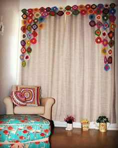 Best 10 Crochet Curtain: 40 models to decorate your home, Ikea Curtains, Home Curtains, Custom Curtains, Curtain Patterns, Curtain Designs, Decorating Your Home, Diy Home Decor, Macrame Wall Hanging Diy, Crochet Mandala Pattern