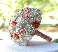 Coral Peach Gold Brooch Bouquet. Deposit on a custom made to order Heirloom Broach Bouquet.