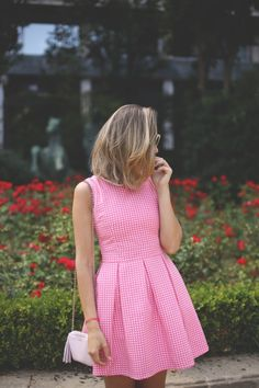 Pretty pink gingham dress.
