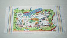Vintage Souvenir Towel Pennsylvania MINT by unclebunkstrunk, $39.99