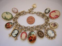 Vintage Cameo Charm Bracelet 11 CAMEOS Signed GRAZIANO