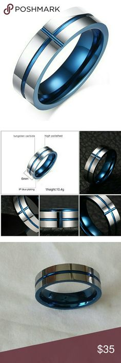 6mm High Polished Tungsten Carbide Cobalt Blu Band NWT Original MAIKEDIAO Fine Jewelers Size 10 6mm Unique High Polished Tungsten Carbide Classic Grooved Cobalt Blue Accented Line w/Cross Wedding Band Comfort Fit Tungsten Ring is made of high quality jewelers grade tungsten carbide that contains no cobalt. Its the newest & strongest metal to be used in jewelry & quickly gaining in popularity w/men or women alike If your looking for a ring that is scratch proof,keeps its shine,feels great…