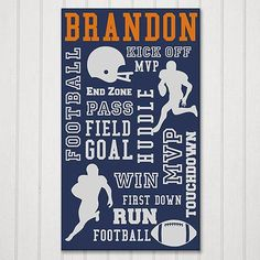 Personalized Football Print Canvas