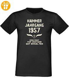 Mega trendiges humorvolles Happy-Birthday-Fun-t-shirt Geschenk mit Sprüche-Motiv: zum 59. Geburtstag Hammer Jahrgang 1957 Farbe: schwarz Gr: XL - T-Shirts mit Spruch | Lustige und coole T-Shirts | Funny T-Shirts (*Partner-Link)