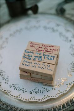 oh i so love this - write well wishes on Jenga pieces - every time the couple plays the game, they'll remember the fun party and all their loving friends/family.