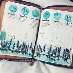 bujo weekly spread. Pine trees in turquoise watercolor